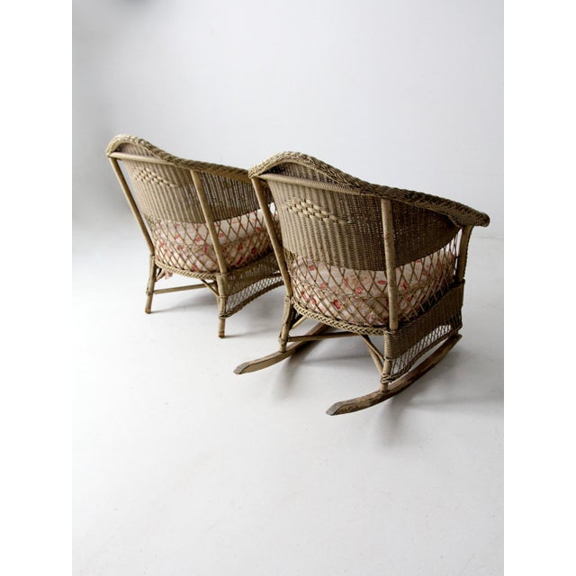 Antique Wicker Chair and Rocker For Sale - Image 9 of 11
