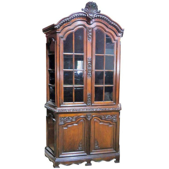 19th Century Carved Georgian Style Two Piece China Closet For Sale - Image 9 of 9