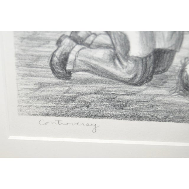 """""""Controversy"""" Social Realism Pencil Signed Lithograph by Jack McMillen For Sale In San Francisco - Image 6 of 8"""