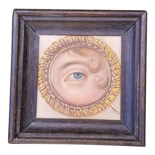 Vintage Victorian Lovers Eye Portait Oil Painting For Sale