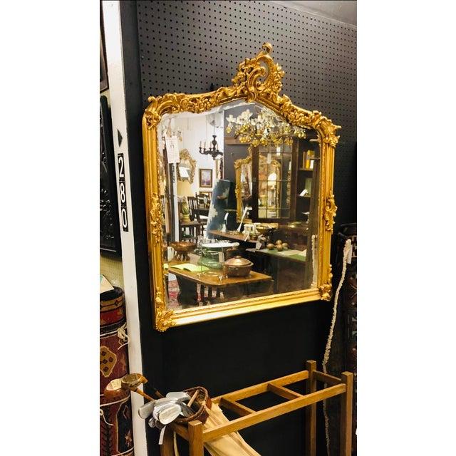 Antique Gold Gilt Wood Frame Beveled Mirror For Sale - Image 10 of 12
