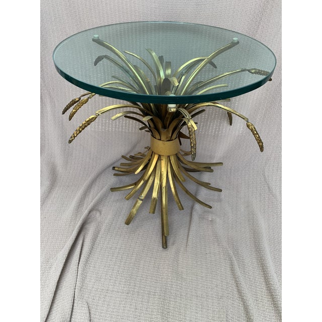 Metal Vintage French Provincial Wheat Sheaf Glass Side Table For Sale - Image 7 of 13