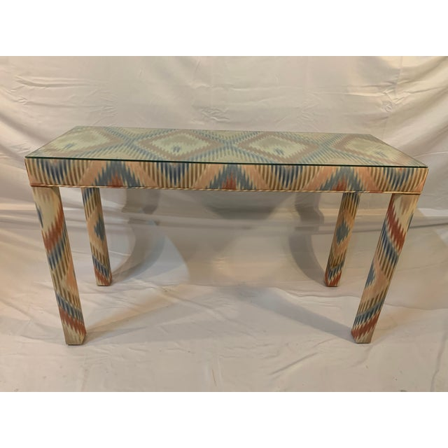 Vintage Upholstered, beautifully patterned and designed parsons table. Design displays tessellating lines forming diamonds...