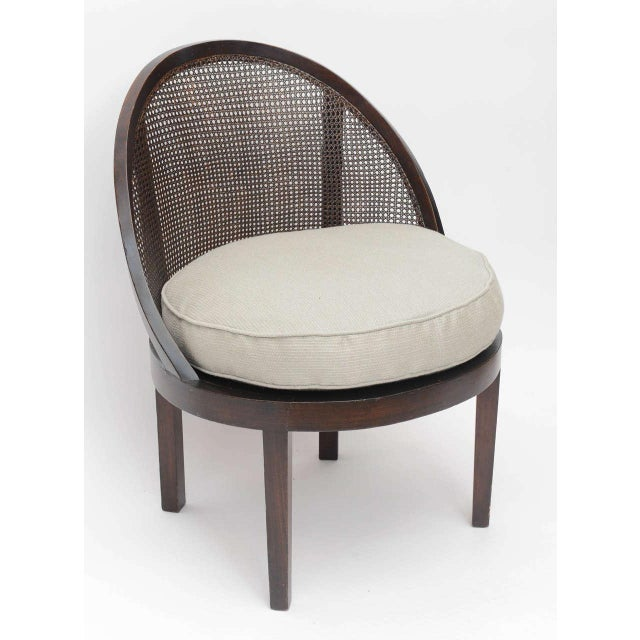 Mahogany cane back single chair with newly upholstered linen cushion. Perfect for living room, bedroom or library.