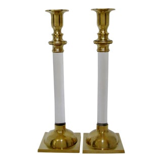 Brass & Acrylic Candlesticks - a Pair For Sale