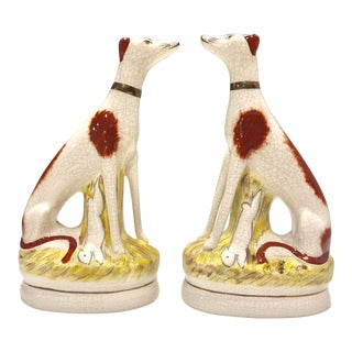 Staffordshire Kent Whippet Dog Figurines - a Pair For Sale
