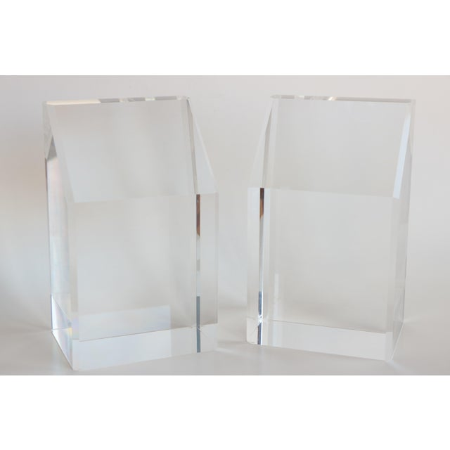 Faceted Lucite Bookends - A Pair - Image 7 of 10