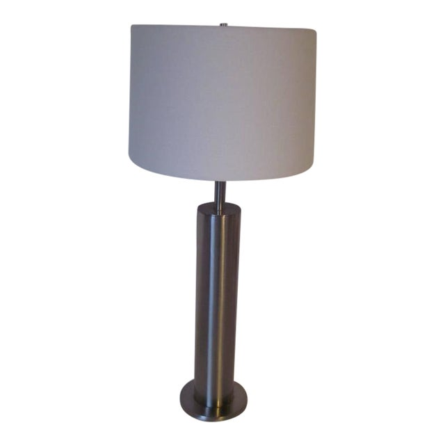 Laurel Brushed Stainless Table Lamp For Sale