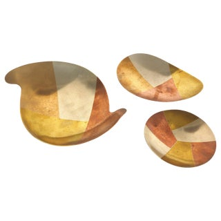 Los Castillo Mexican Mid-Century Modern Mixed Metal Footed Trays, Set of 3 For Sale