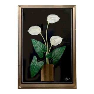 """Jon Gilmore Postmodern Framed """"Calla Lily"""" Collage Wall Sculpture for Accessory Art For Sale"""