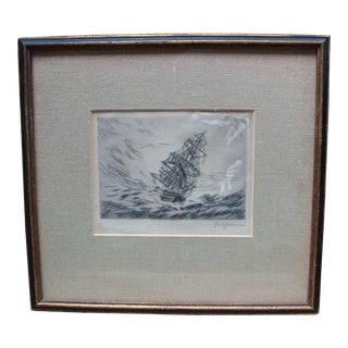 Minimalist Pencil Drawing of a Wind-Ship For Sale