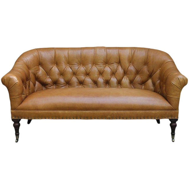 Edwardian Style Buttoned Back Leather Sofa For Sale