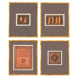 19th Century Grecian Style Red and Black Figure Prints - Set of 4 For Sale