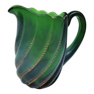 19th CenturyVictorian Beaded Green Swirl Glass Pitcher For Sale