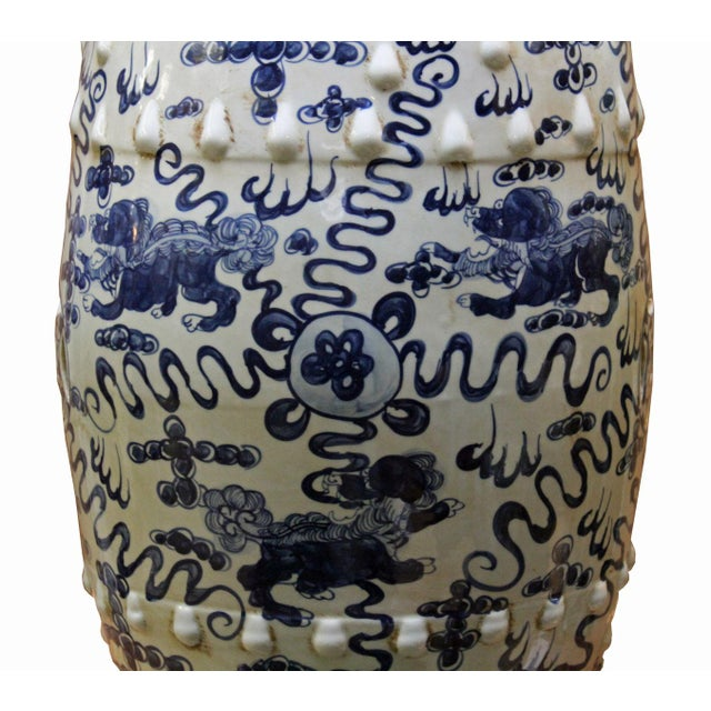 Chinese Blue & White Porcelain Foo Dogs Stool - Image 2 of 6