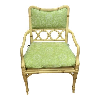Bamboo & Wicker Arm Chair With Cushion For Sale