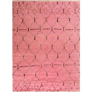 Moroccan Arya Doyle Pink/Black Wool Rug -7'9 X 10'4