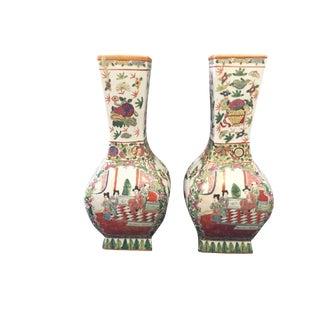 1920's Famille Rose Porcelain Urns W/ Figural Scenes - a Pair