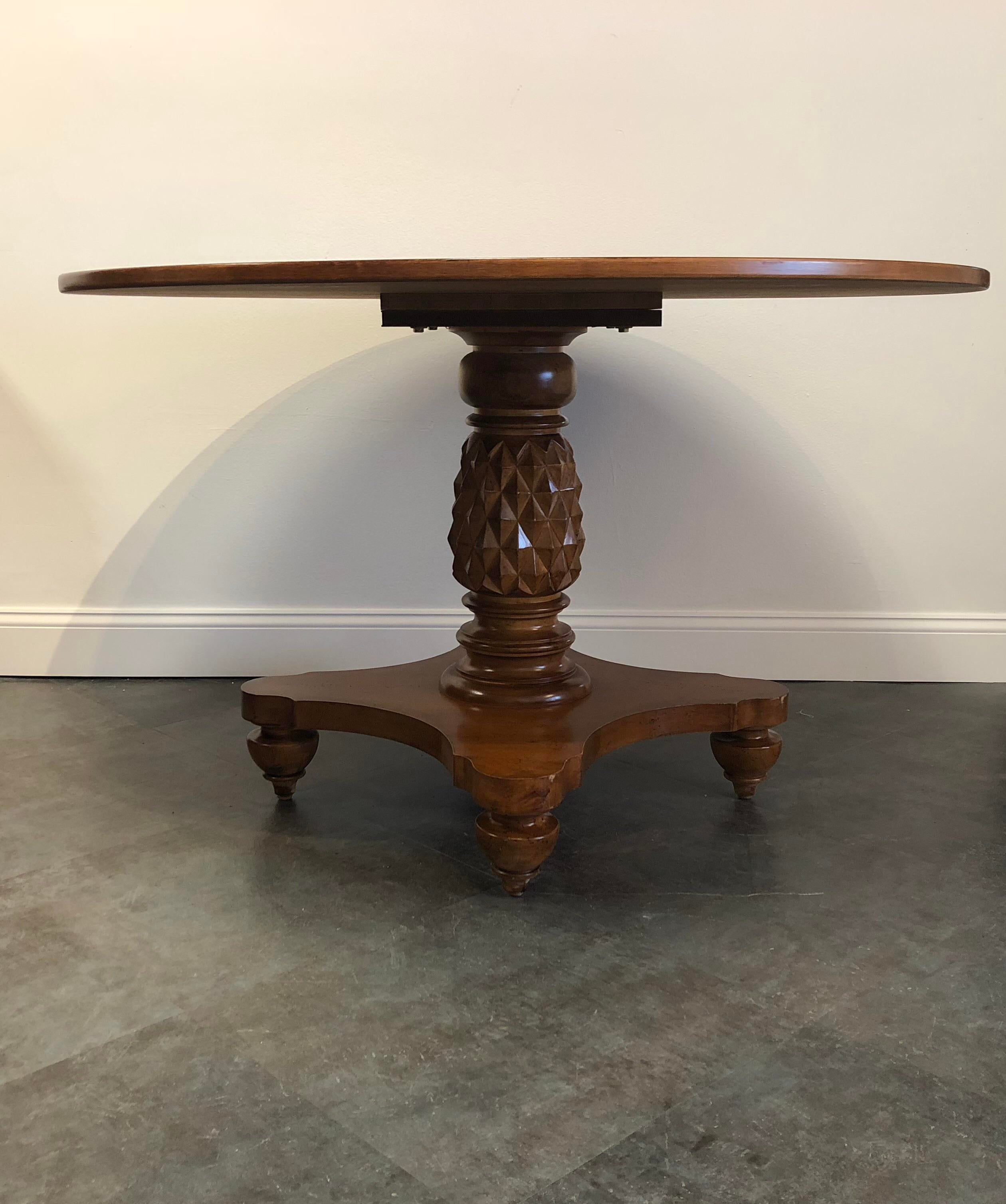 Round Top Pedestal Base Dining Table With Carved Pineapple Base. The Base  Is Made Of