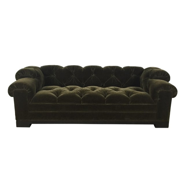 Tufted Green Mohair Sofa - Image 1 of 11