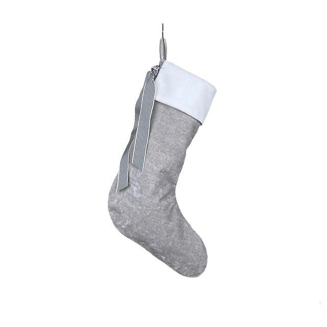 2020s Silver Velvet Christmas Stocking For Sale - Image 5 of 5
