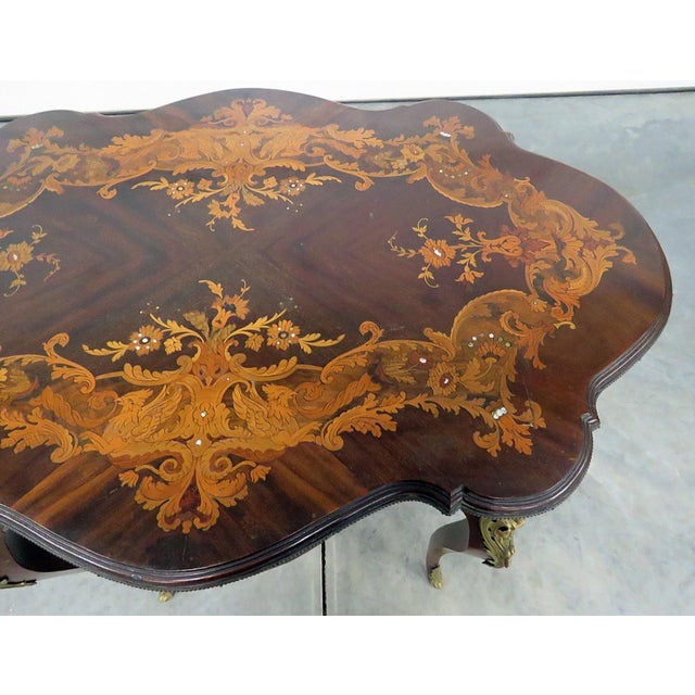 Traditional Victorian Inlaid Center Table For Sale - Image 3 of 13