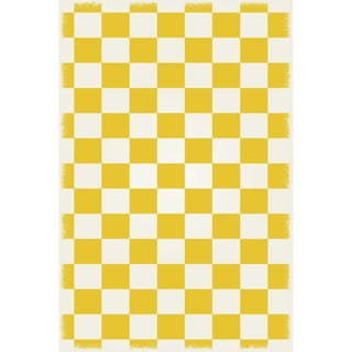 Yellow & White English Checker Design Rug - 4' X 6'