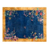 "Image of Chinese Art Deco Blue Floral Rug - 8'9""x11'4"" For Sale"