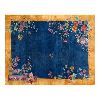 "Chinese Art Deco Blue Floral Rug - 8'9""x11'4"" For Sale"
