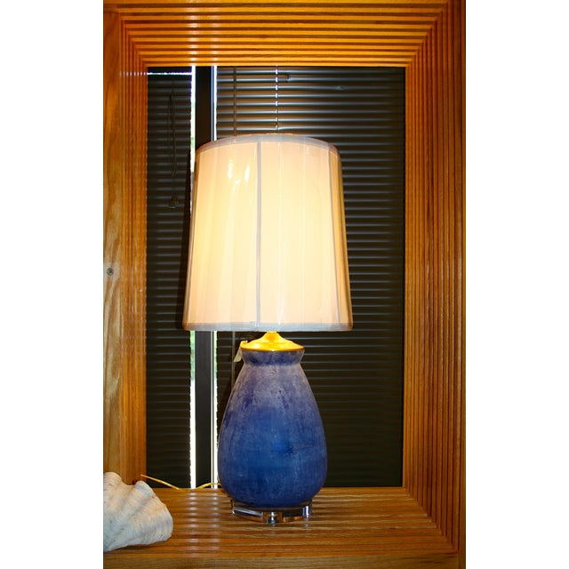 Modern Frosted Royal Blue Glass Table Lamp - Image 3 of 8