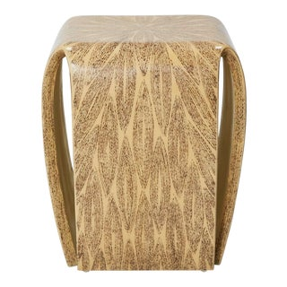 """Gem"" Lacquered Side Table With Natural Fiber Inlay, 1990s For Sale"