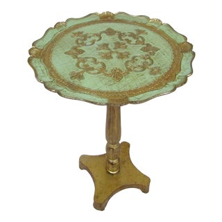 Vintage Italian Accent Table Florentine Gold Leaf Rare Delicate Green & Gold Color For Sale