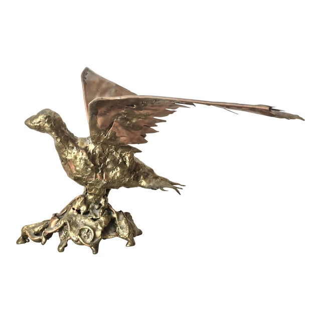 Brutalist Copper & Bronze Flying Bird Sculpture - Image 1 of 8