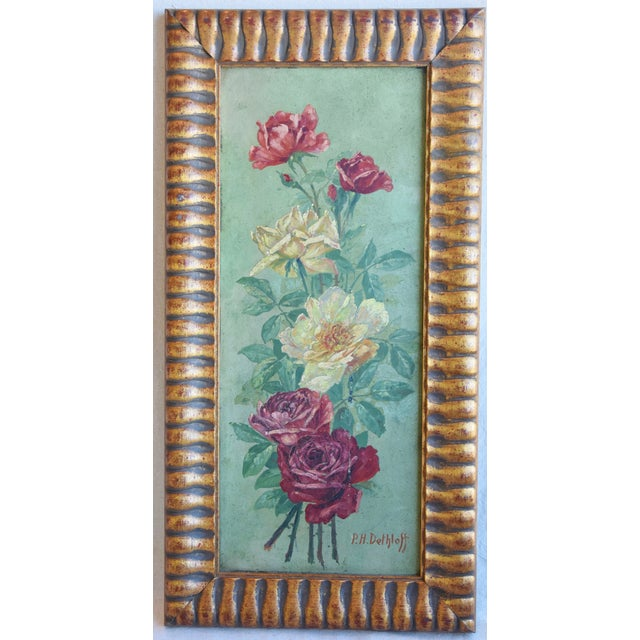 Red Antique English Red & Yellow Roses Floral Oil Painting For Sale - Image 8 of 9