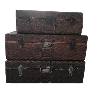 Abc Home & Carpet Decorative Vintage Rattan Wicker Woven Suitcases - Set of 3 For Sale