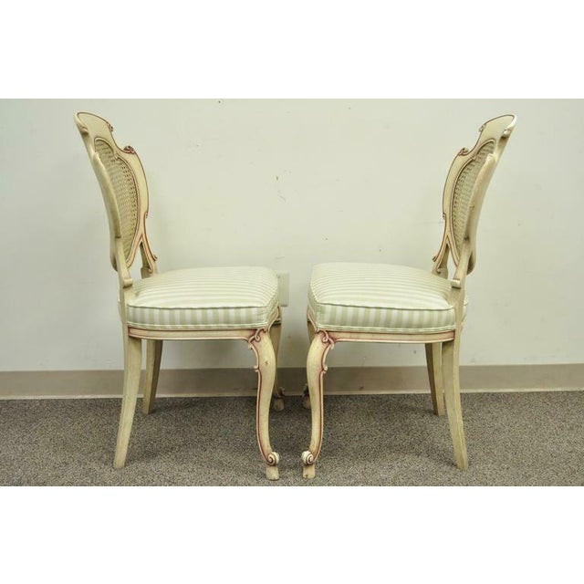 1950s Vintage Scroll Carved Italian Hollywood Regency Cream Pink Cane Back Dining Chairs- 4 Pieces For Sale - Image 9 of 11