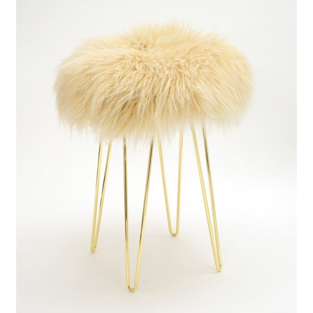 Modern Curly Tipped Beige Hairpin Brass Counter Stool For Sale - Image 3 of 3