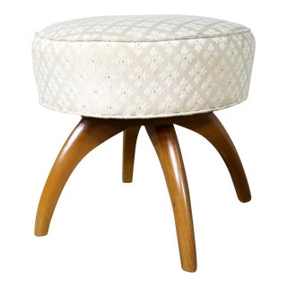 Heywood Wakefield Kohinoor Swivel Vanity Stool Ottoman Vintage For Sale