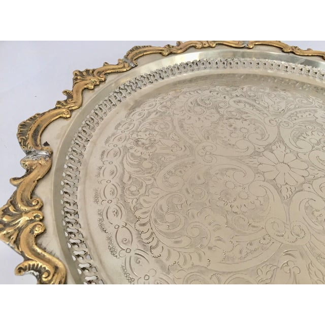 Moroccan Handcrafted Silver Round Tray With Brass Overlay Moorish Designs For Sale - Image 12 of 13