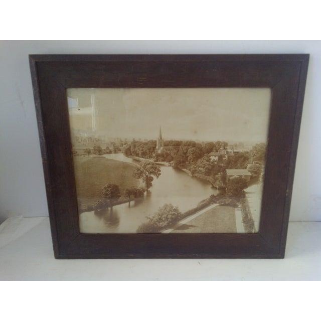 VINTAGE PHOTOGRAPH -- AMERICAN RIVER TOWN -- Circa 1909 Copyright 1909 -- Taber Prang Art Co. Original Wood Frame -- Glass...
