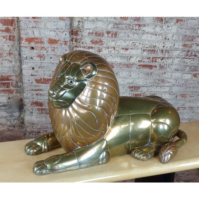 Sergio Bustamante Resting Lion Brass & Copper Sculpture For Sale - Image 11 of 11