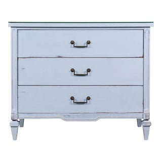 Vintage Gray Mid Century Painted Chest With Mirror Top For Sale
