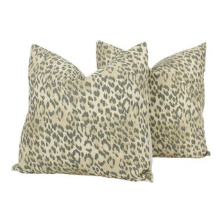 Flax & Pewter Linen Leopard Pillows, Pr For Sale