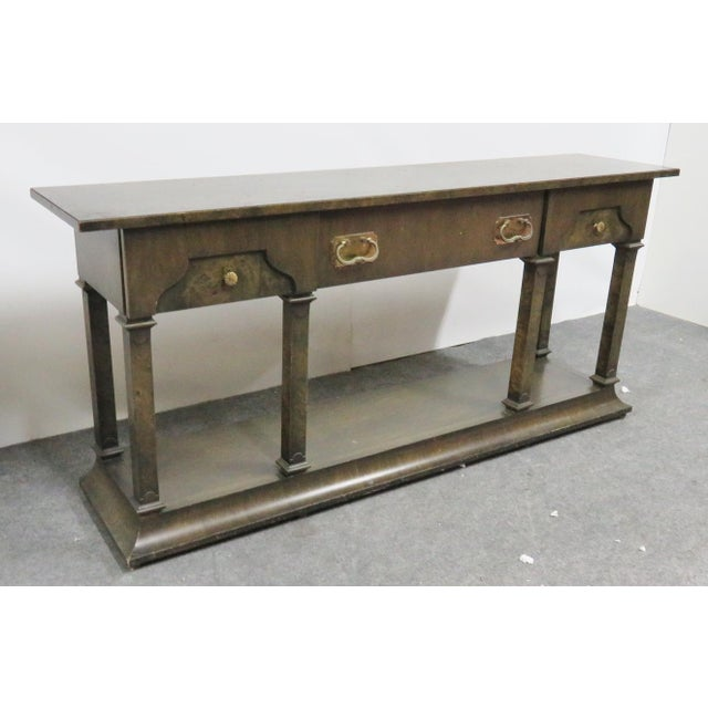 Hollywood Regency Hollywood Regency Burlwood Console Table For Sale - Image 3 of 7