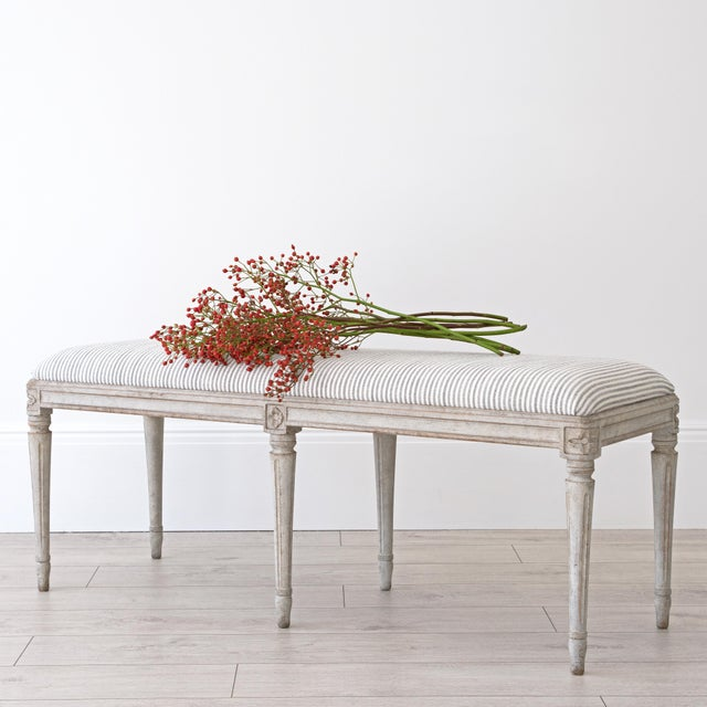 Our beautiful 'Luna' bespoke Gustavian stool featuring decorative hand carved rose motifs and round tapered & fluted legs....
