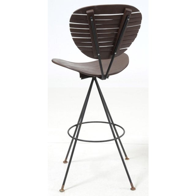 Mid-Century Modern Wood and Wrought Iron Bar Stools - Set of 3 For Sale - Image 11 of 12