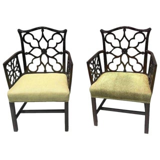 Pair of Georgian Style Lattice Armchairs For Sale