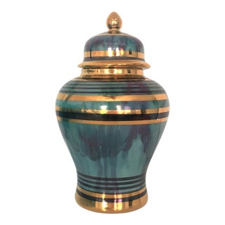 1980s Art Deco Faux Malachite and Gold Ginger Jar