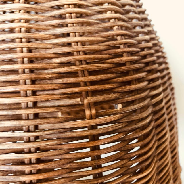 Vintage Wicker Table Lamp For Sale In Buffalo - Image 6 of 8