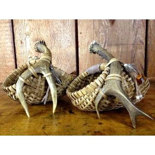 Vintage Handmade Antler Handle Baskets - Pair Preview